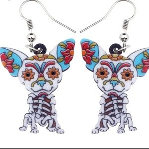 NEW Acrylic Earrings Skelton Dog BLue White Floral